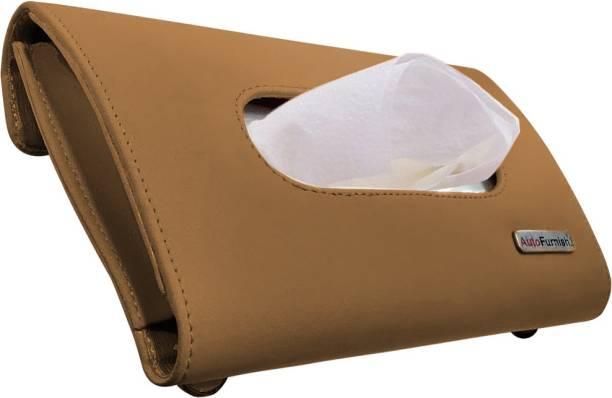 AutoFurnish Premium Car Sun Visor Tissue Holder Box - Tan Vehicle Tissue Dispenser