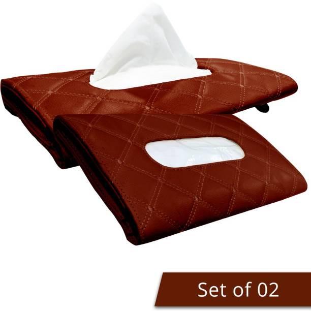 AutoFurnish 7D Car Sun Visor Tissue Holder Box Coffee (Set of 2) Vehicle Tissue Dispenser