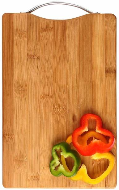 Giffy Premium Quality Size (36 x 26 cm) Natural Bamboo Chopping Board with Handle for Vegetables, Fruits, Meat Wooden Cutting Board