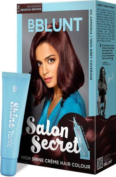 BBlunt Salon Secret High Shine Creme Hair Colour, 100g with Shine Tonic, 8ml , Reddish Brown 4.56
