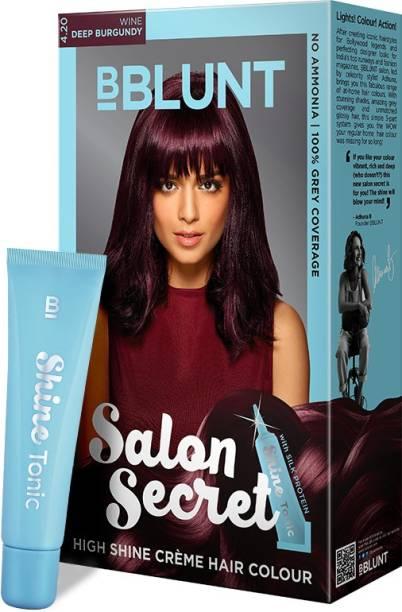 BBlunt Salon Secret High Shine Creme Hair Colour, 100g with Shine Tonic, 8ml , Deep Burgundy 4.20