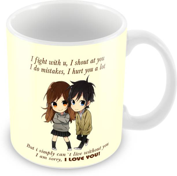"""Flipkart SmartBuy """" I Fight With You """" Printed For Valentines Day Gift, for tea & coffee Ceramic Coffee Mug"""