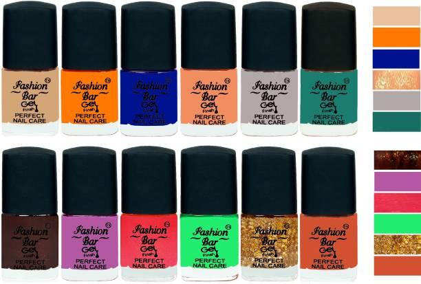 Fashion Bar Gel Finish Perfect Nail Care Nail Polish Combo 2253 Nude,Turmeric Yellow,Blue,Peaches Shimmer,Grey,Rama Green,Dark Brown,Violet Purple,Shimmer Pink,Neon Green,Glitter Golden,Brown