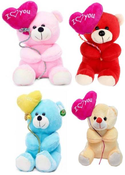 ToyKing Combo Offer Set of 4 Cute I Love You Balloon Teddy Bear  - 26.5 cm