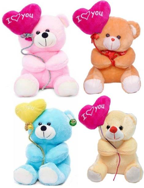 ToyKing Combo Offer Set of 4 Cute I Love You Balloon Teddy Bear  - 28 cm
