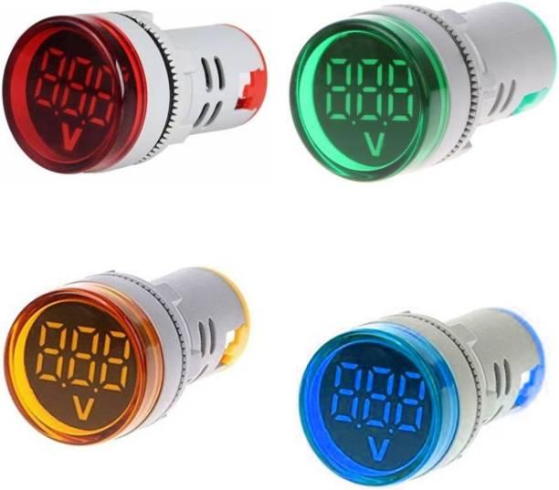 Mexico Pack of 4 Volt Meter LED Digital Display Gauge Volt Digital,Voltage Meter Indicator,Signal Lamp,Voltmeter Lights Tester Combo Measuring Range 60-500V AC, 22 mm Digital Volt meter Digital Voltage Tester
