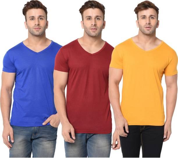 Jangoboy Solid Men V Neck Blue, Maroon, Yellow T-Shirt