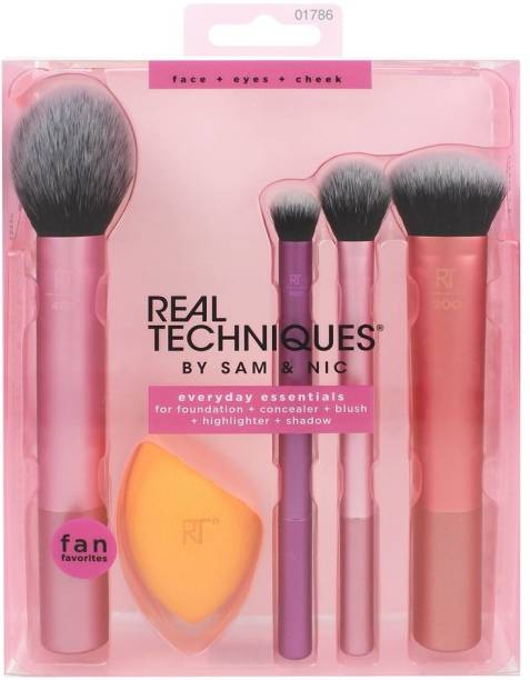 REAL TECHNIQUE Real Techniques Everyday Essentials Makeup Brush Complete Face Set (Miracle Complexion Sponge, Expert Face, Blush, Setting and Deluxe Crease Brushes)