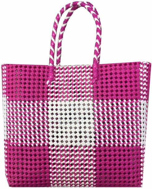 GR Trend Wire Basket/Multipurpose Bag/Reusable Plastic Straw (30Lx9Wx30H) in Knots/(30Lx10Wx30H) in cm/ Washable/Hand Made Bag Grocery Bag