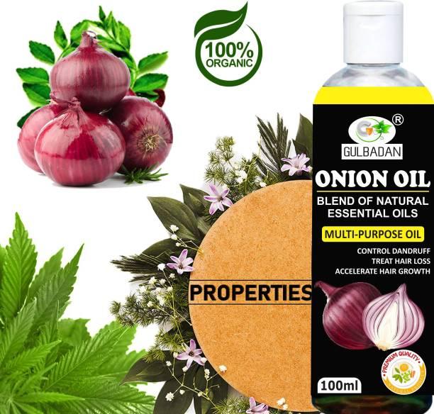 GULBADAN Organics ONION Herbal Hair Oil for Hair Regrowth- Blend of 14 Natural Oils For Hair Oil