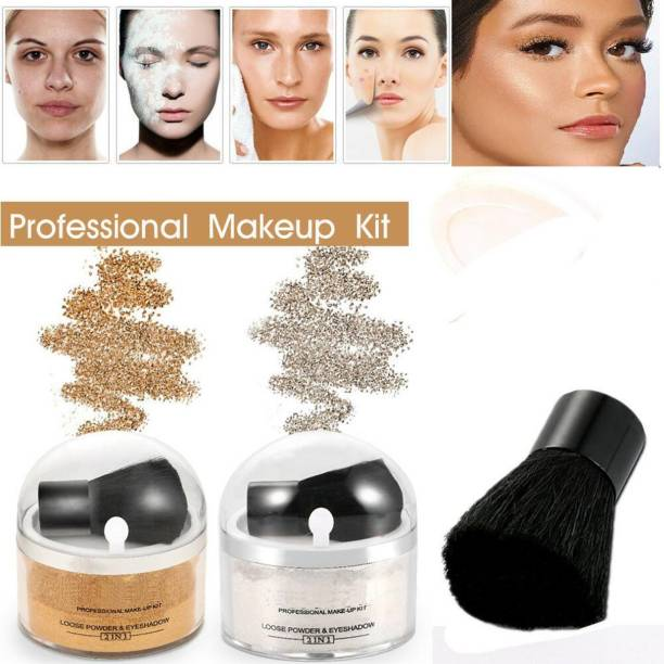 GLOWY Professional Illumination Face Makeup powder Shimmer Highlighter With Pearl & Gold Flakes Combo Highlighter