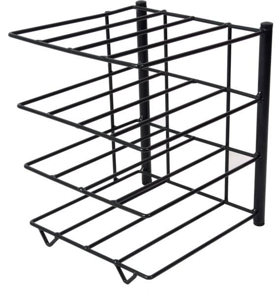 D&V ENGINEERING Multi Tiers Pot Frying Pan Lid Tawa Storage Rack Organizer Kitchen Cookware Stand Holder-Black Utensil Kitchen Rack