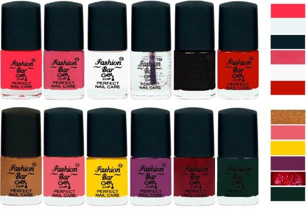 Fashion Bar Gel Finish Perfect Nail Care Nail Polish Combo 2066 Royal Pink,Shimmer Pink,White,Basecoat,Black,Red,Copper,Baby Pink,Yellow,Purple,Shimmer Maroon,Grass Green