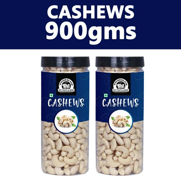 WONDERLAND Foods Plain (Pack of 2 - 450g each) Raw Cashews