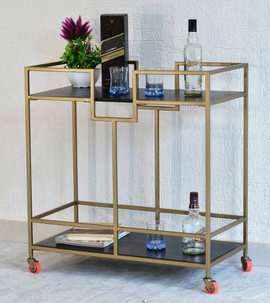 SamDecors Solid Wood Kelly Multipurpose Bar Trolley with Wheels with Two Shelves in Black Finish and Iron Frame in Golden Finish Solid Wood Bar Trolley