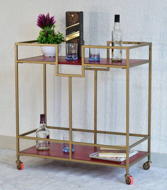 SamDecors Solid Wood Kelly Multipurpose Bar Trolley with Wheels with Two Shelves in Red Finish and Iron Frame in Golden Finish Solid Wood Bar Trolley