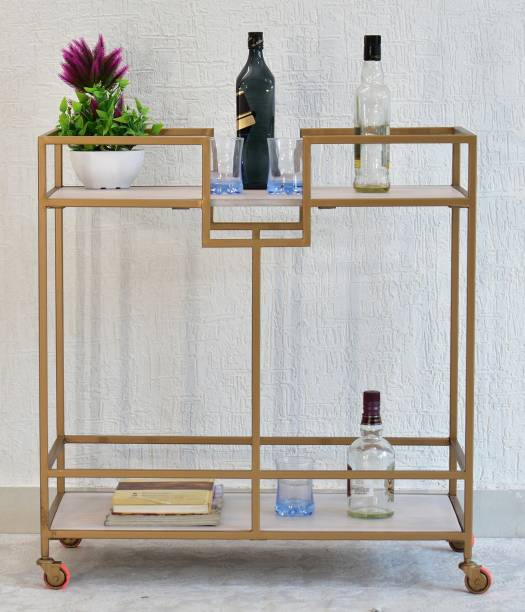 SamDecors Solid Wood Kelly Multipurpose Bar Trolley with Wheels with Two Shelves in White Finish and Iron Frame in Golden Finish Solid Wood Bar Trolley