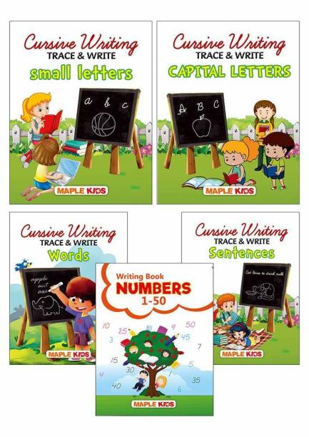 Cursive Writing Books - 2 (Set of 5 Books) (Practice) - Small Letters, Capital Letters, Words, Sentences, Number Writing 1-50