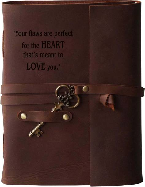 MAKENSTYLECOLLECTION Handmade Diary with Love Quotes on leather Cover A5 Diary Unruled 144 Pages