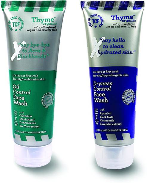 Thyme Organic Oil & Dryness Control , For Hydrating Skin & Controls Acne and Pimples- Toxic Chemical Free Face Wash