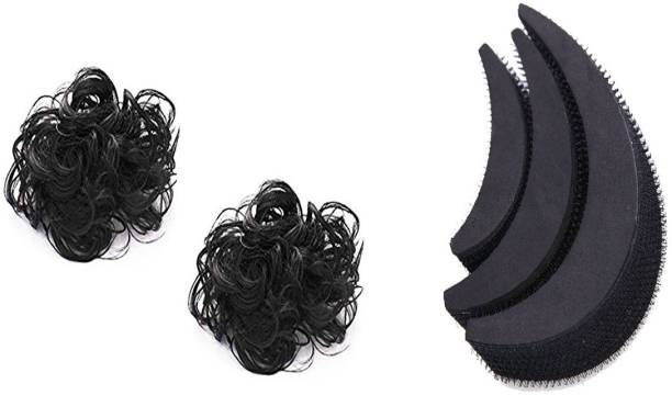 AROOMAN Set of 2 Black Hair Funky Rubber Juda & 3Pcs Banana Bumpit for Hair Puff Maker Bun Clip