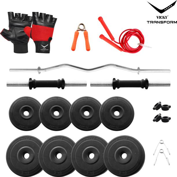 Vicky Transform 20 kg PVC 20 Kg Curl Rod Combo Home Gym Combo