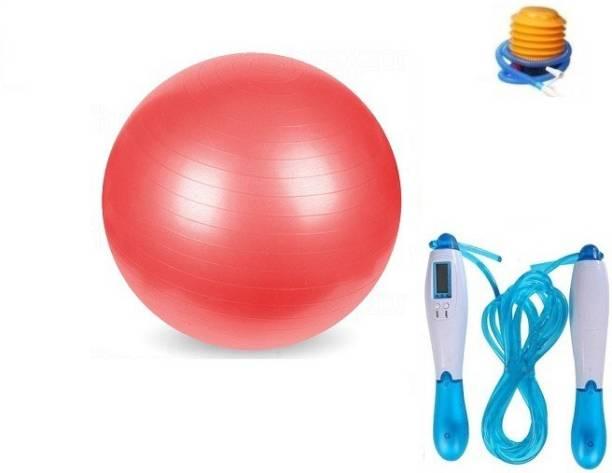 Web Mall Anti Burst 85 cm Gym Fitness Aerobics Yoga Exercise/Ball With Digital Skipping Rope Unisex Home Gym Kit