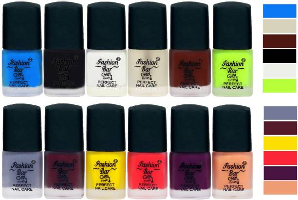 Fashion Bar New Velvet Matte Finish Perfect Nail Polish Combo 2389 Sky Blue,Black,White,Basecoat,Brown,Redium Green,Grey,Mauve,Yellow,Royal Pink,Purple,Nudish Peach