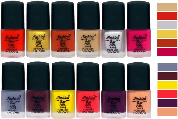 Fashion Bar New Velvet Matte Finish Perfect Nail Polish Combo 2374 Red,Golden,Peaches Brown,Nude,Silver,Mazenta Pink,Grey,Mauve,Yellow,Royal Pink,Purple,Nudish Peach