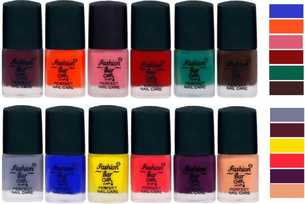 Fashion Bar New Velvet Matte Finish Perfect Nail Polish Combo 2407 Mauve,Orange,Light Pink,Maroonish Red,Rama Green,Dark Brown,Light Grey,Blue,Yellow,Royal Pink,Purple,Peaches Nude