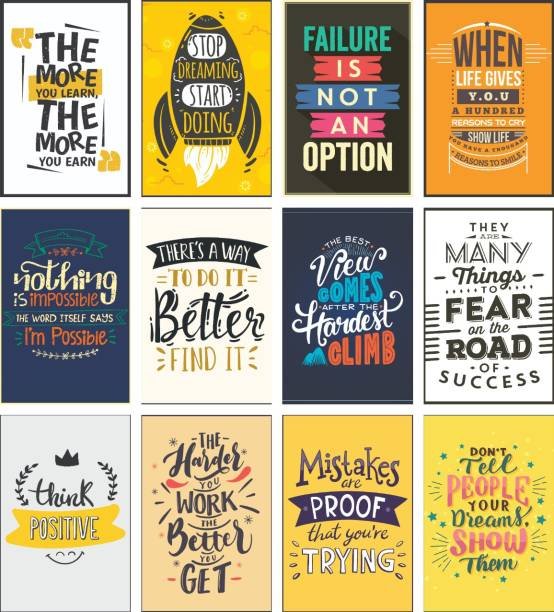 Pack of 12 HD Motivational Wall Posters and Inspirational Quotes for Office and Home (300GSM Thick Paper, Laminated) Photographic Paper
