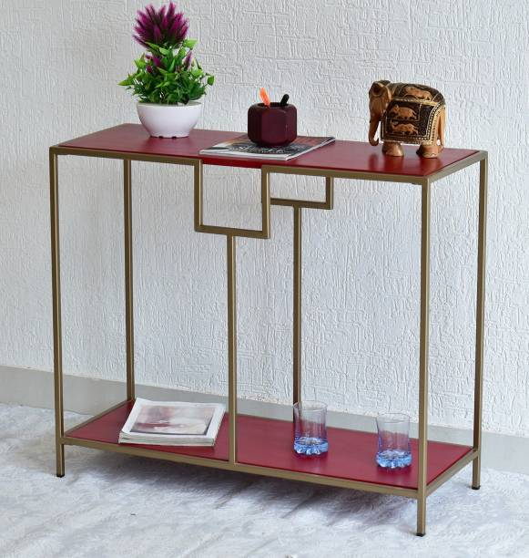 SamDecors Solid Wood Kenny Multipurpose Console Hall Table with Two Shelves in Red Finish and Iron Frame in Golden Finish Solid Wood Console Table