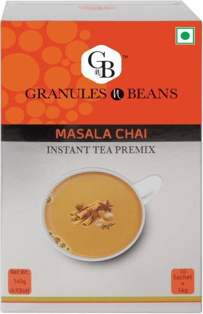 Granules and Beans Masala Tea Instant Premix  Masala Chai Instant Premix   10 Sachets of 14gms Each Instant Chai for Immunity & Freshness Spices, Ginger, Cardamom, Cinnamon, Cloves, Black Pepper Instant Tea Box