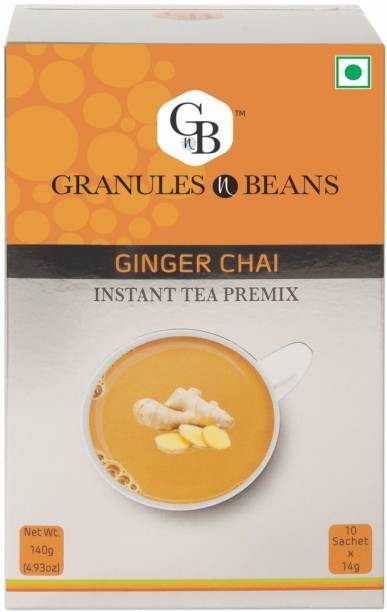 Granules and Beans Ginger Tea Instant Premix (Adrak Chai)   10 Sachets of 14gms - Instant Chai for Immunity & Freshness Ginger Instant Tea Box