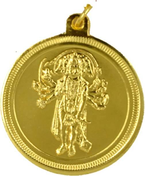 AFH Panchmukhi Hanuman Golden Plated 38 mm Quality Raksha Kavach Yantra For Meditation, Protection, Wealth and Success Brass Yantra