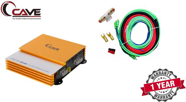 Cave RJ-425 2-Channel Car Audio Mini High Power Amplifier Performance Auditor Systems 3500 Watts Class AB Mosfet, Colour: Golden & Sliver with 8 Gauge amplifier wiring kit Two Class AB Car Amplifier