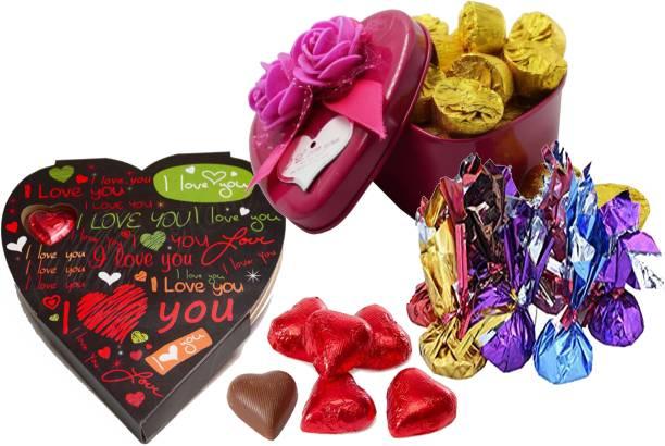 Kinoki Megenta and Black Heart Shape Chocolate Box valentine gift set Truffles