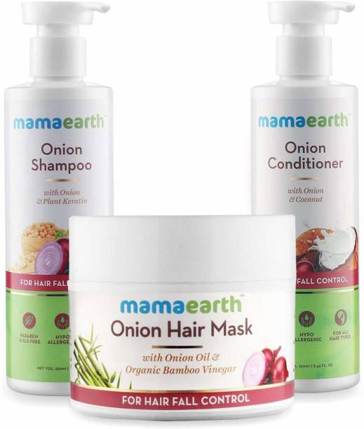 """MamaEarth """"Ultimate Hair Fall Care Range, for Hair Fall Control, (Hair Mask + Shampoo + Conditioner) """""""