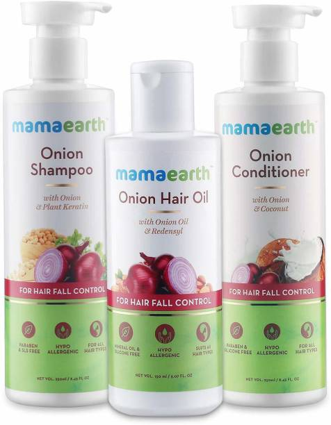 "MamaEarth ""Anti Hair Fall Spa Range with Onion Hair Oil + Onion Shampoo + Onion Conditioner for Hair Fall Control"""