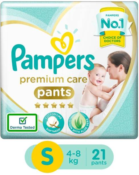 Pampers Premium Cotton like soft Diapers with Wetness Indicator - S