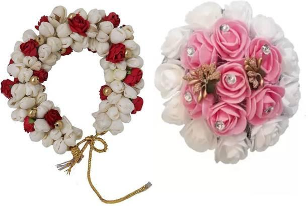 AROOMAN ™ Hair Bun Combo Mogra Artificial Gajra & Full juda Bun for Women in White Red & Pink Pack-02 Bun