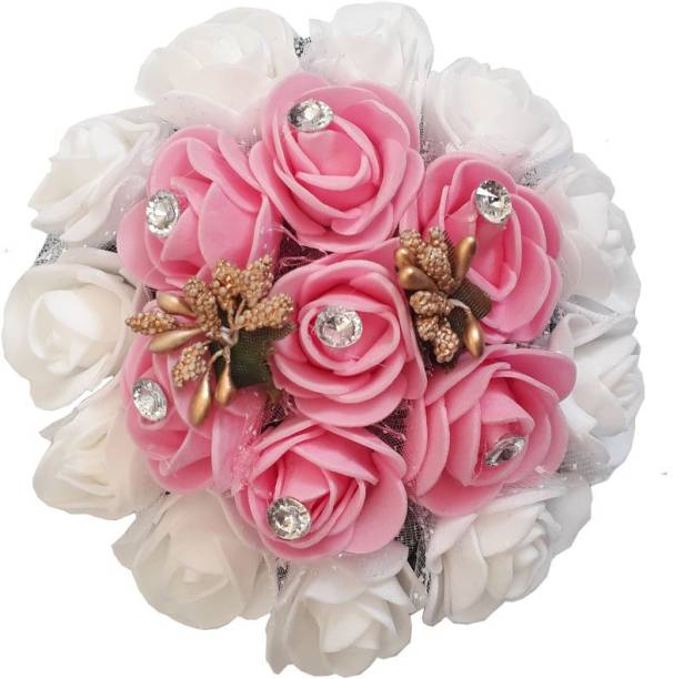 AROOMAN ™ Stylish Gajra Hair Bun Decoration Full Bun Gajra For Women Pink & White (Pack-01) Bun