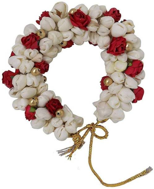GadinFashion Hair Bun Gajra Flower Artificial Juda Accessories for Women in Red White Hair Accessory Set