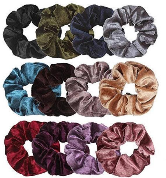 Fashsio Multicolour Velvet Elastics Hair Ties Scrunchy Bands for Women -12 Pieces Rubber Band