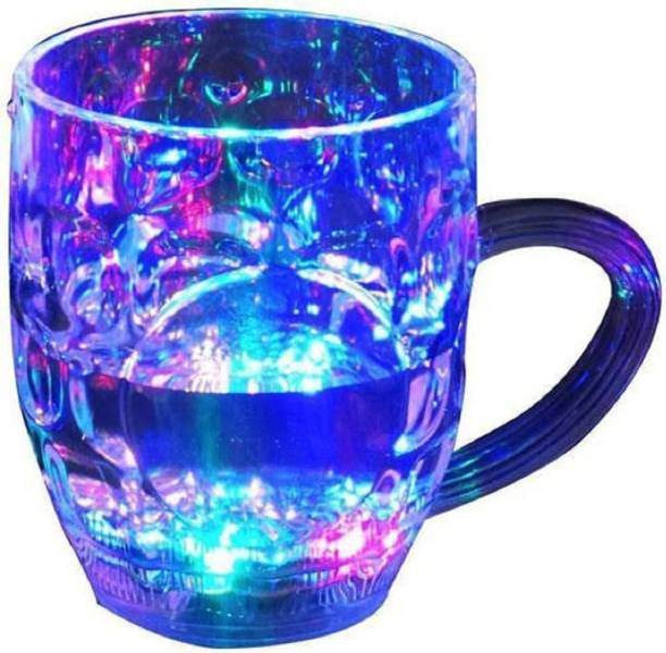 BOXO Rainbow Magic Color Cup with LED Light Party (250 ml) Glass Mason Jar
