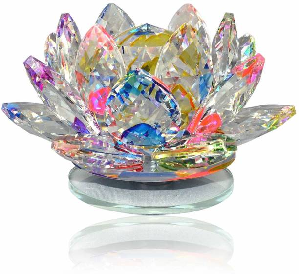 Black horse creation Products Vastu / Feng Shui Transparent Crystal Lotus For Positive Energy Gift Item And Good Luck & Brings Prosperity Success Decorative Showpiece - 4.5 cm (Crystal, Clear) Decorative Showpiece  -  5.5 cm