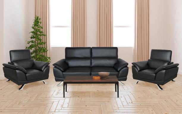 Parin Leatherette 3 + 1 + 1 Black Sofa Set