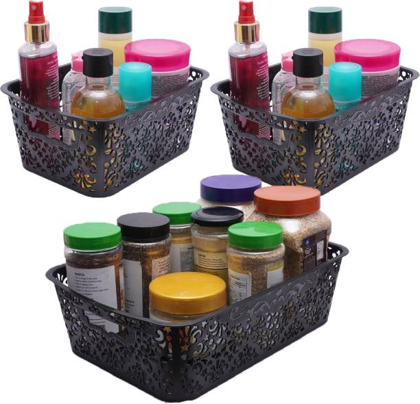 Cutting EDGE Small Turkish Basket   for storing Toiletries Beauty Products School Supplies Fruits Vegetables Set of 3   (1 x Medium with Lid [6L]   2 x Small with Lid [2.5L])   Black Storage Basket