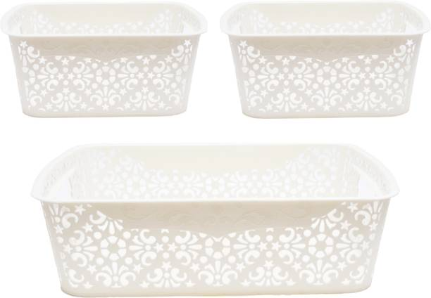 Cutting EDGE Turkish Basket, Sturdy and Break-Resistant, for storing Toiletries Beauty Products School Supplies Fruits Vegetables Set of 3, (1 x Medium with Lid [6L] , 2 x Small with Lid [2.5L]) , Cream Storage Basket