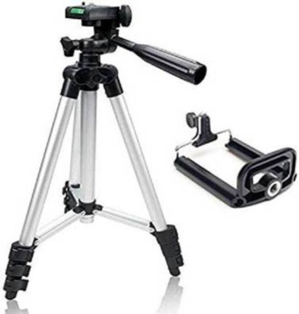 B E style TRIPOD Tripod 3110 Foldable Camera Tripod With Mobile Clip Holder Bracket, Fully Flexible Mount Cum Tripod, Standwith 3D Head & Quick Release Plate Tripod (Silver & Black, Supports Up to 1500g) Tripod